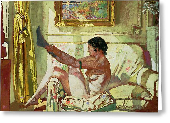 Dressing Room Paintings Greeting Cards - Sunlight Greeting Card by Sir William Orpen