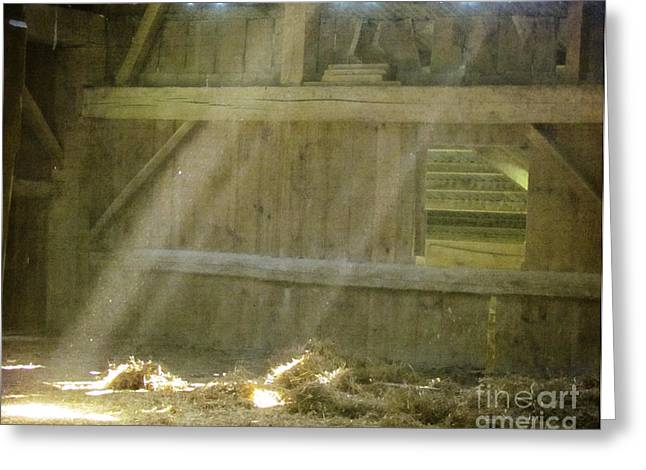 Old Barns Greeting Cards - Sunlight Streaming Through Barn Siding Greeting Card by Lesley Jane Smithers