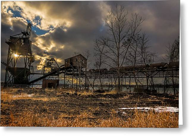 Power Plants Greeting Cards - Sunlight through a Coal loader Greeting Card by Chris Bordeleau