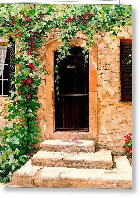 French Doors Greeting Cards - Sunlight Vines - Oil Greeting Card by Michael Swanson