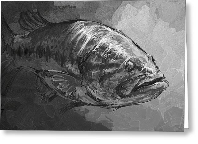 Smallmouth Bass Digital Greeting Cards - Sunlight  Greeting Card by Yusniel Santos