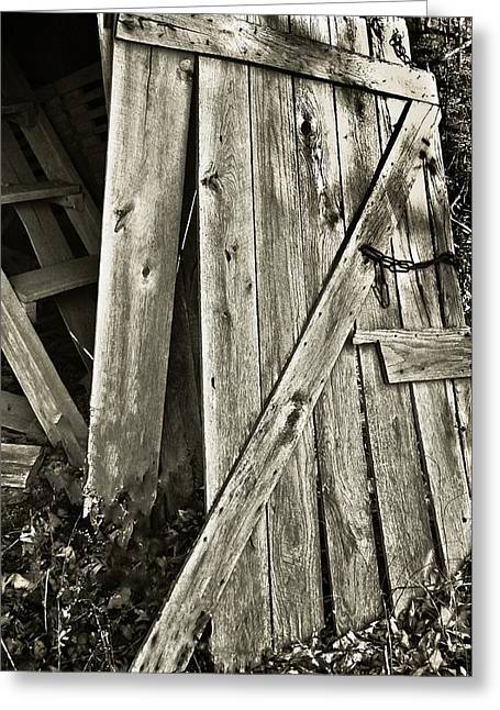 Sunlit Door Greeting Cards - Sunlit Barn Door Greeting Card by Greg Jackson