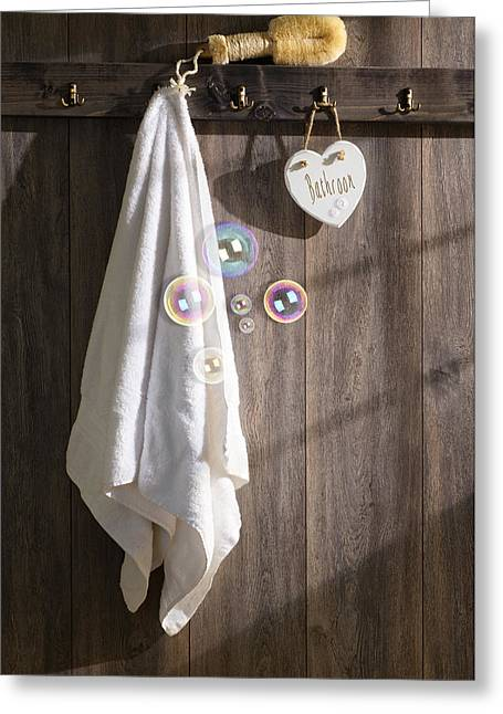 Rack Greeting Cards - Sunlit Bathroom Greeting Card by Amanda And Christopher Elwell