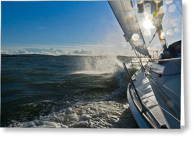 Sailing Boat Greeting Cards - Sunlit bow spray Greeting Card by Gary Eason