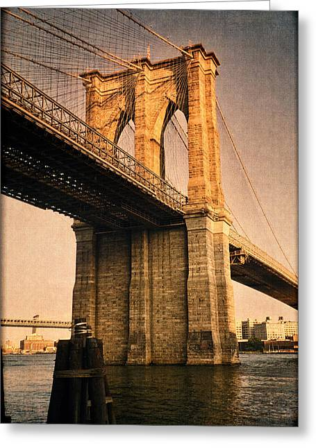 Lower East Side Greeting Cards - Sunlit Brooklyn Bridge Greeting Card by Joann Vitali