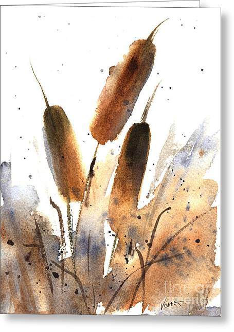 Splashy Paintings Greeting Cards - Sunlit Cattails Greeting Card by Vickie Sue Cheek