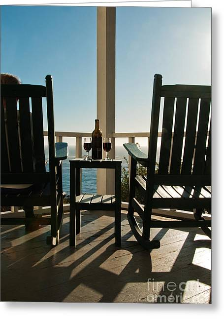 California Beach Greeting Cards - Sunlit Deck Greeting Card by Ron Sanford
