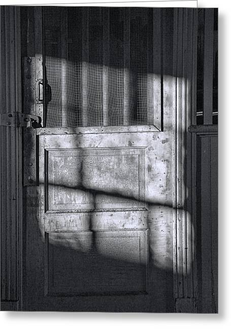 Sunlit Door Greeting Cards - Sunlit Door in Black and White Greeting Card by Randall Nyhof