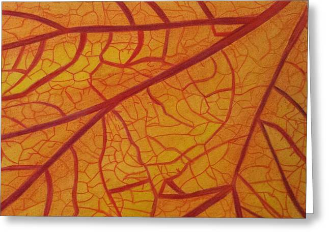 Transparency Geometric Mixed Media Greeting Cards - Sunlit Fall Leaf Greeting Card by Mea
