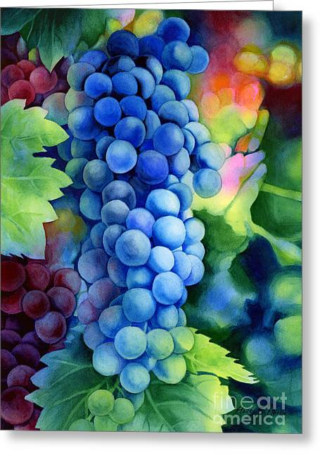 Grape Vines Paintings Greeting Cards - Sunlit Grapes Greeting Card by Hailey E Herrera