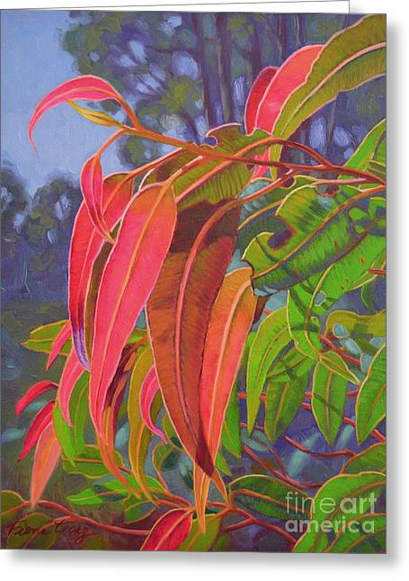 Australian Native Flora Greeting Cards - Sunlit Gumleaves 9 Greeting Card by Fiona Craig