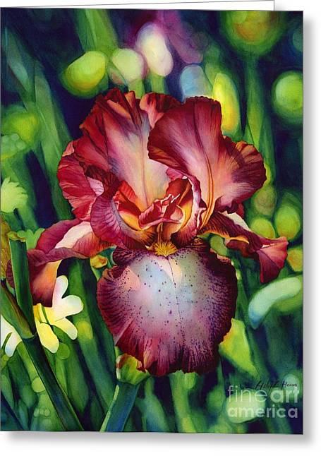 Iris Greeting Cards - Sunlit Iris Greeting Card by Hailey E Herrera