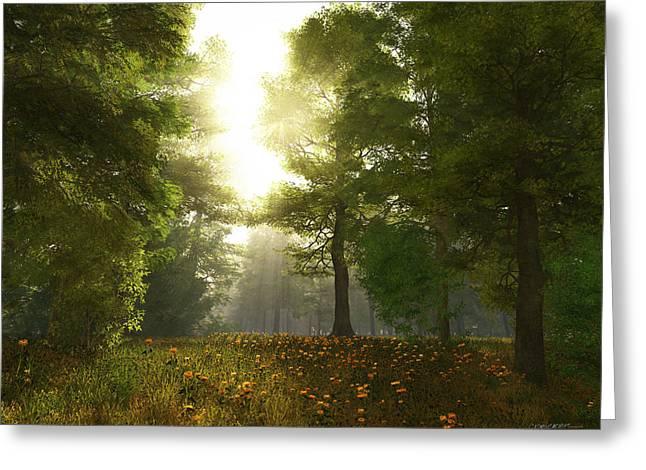 Sunlight Digital Art Greeting Cards - Sunlit Meadow Greeting Card by Cynthia Decker