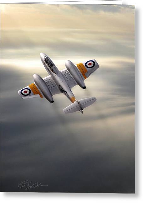 Turbojet Greeting Cards - Sunlit Meteor Greeting Card by Peter Chilelli