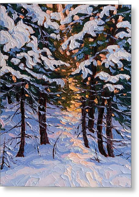 Snow-covered Landscape Greeting Cards - Sunlit path in the woods Greeting Card by Rob MacArthur