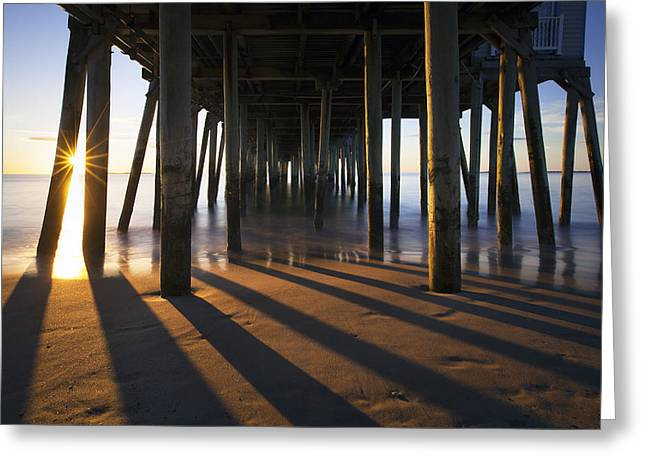 Maine Beach Greeting Cards - Sunlit Pilings Greeting Card by Eric Gendron