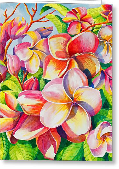 Pinks And Purple Petals Greeting Cards - Sunlit Plumeria Greeting Card by Janis Grau