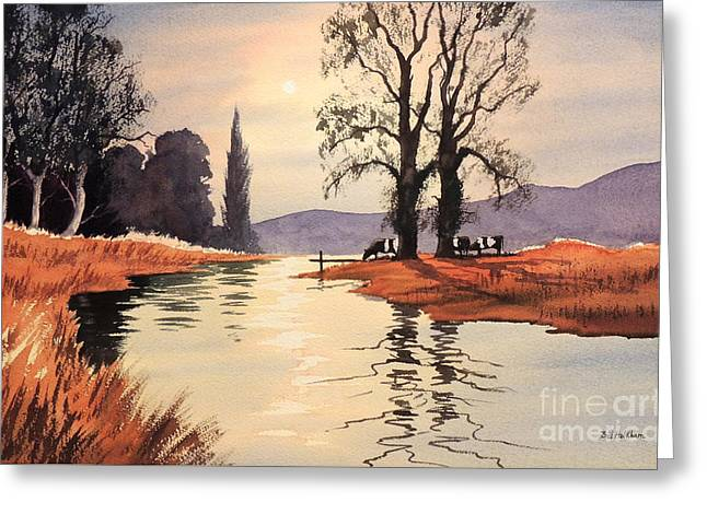 Sunlit River - Chess At Latimer Greeting Card by Bill Holkham