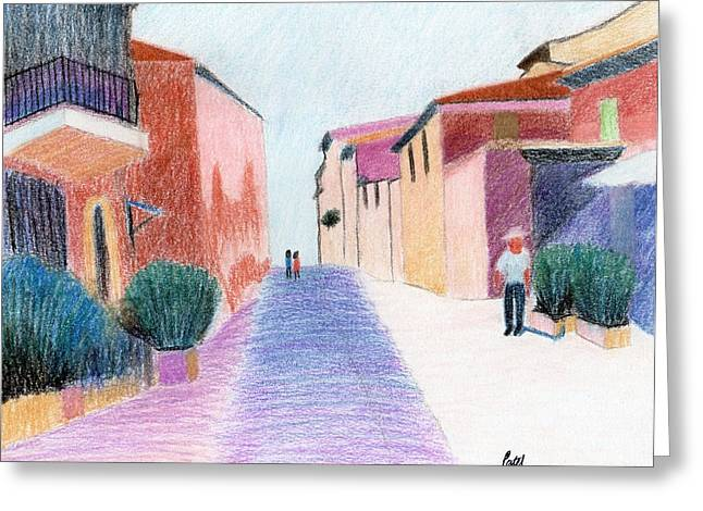 Row Pastels Greeting Cards - Sunlit Street Scene Greeting Card by Bav Patel