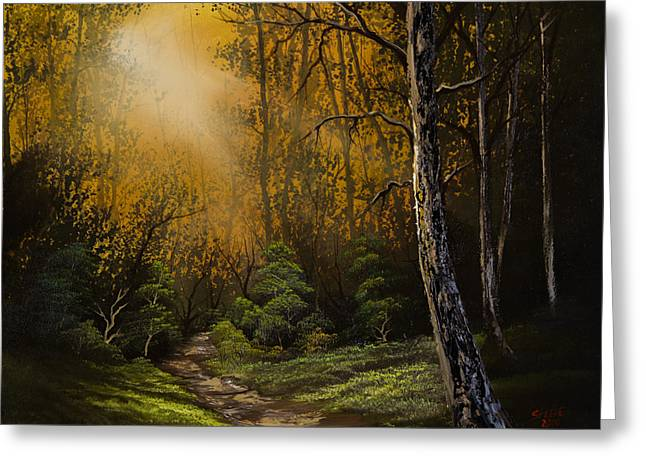 Bob Ross Paintings Greeting Cards - Sunlit Trail Greeting Card by C Steele