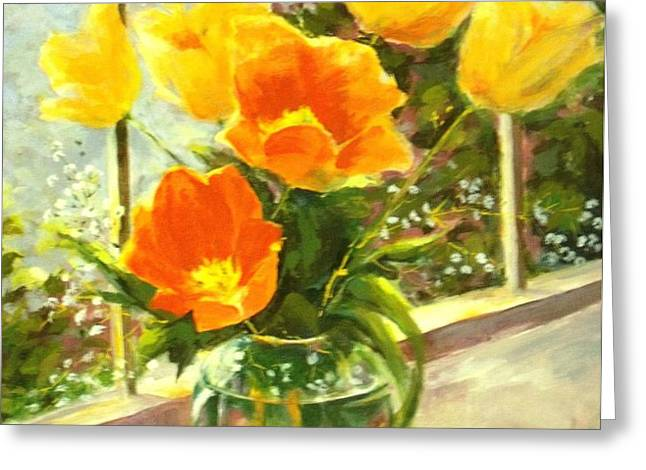 Sunlit Tulips Greeting Card by Madeleine Holzberg