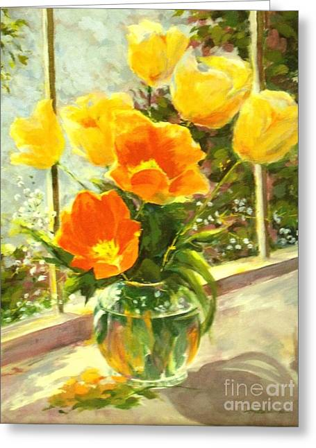 Midday Paintings Greeting Cards - Sunlit Tulips Greeting Card by Madeleine Holzberg