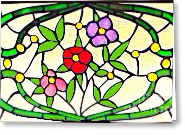 Flower Design Glass Art Greeting Cards - Sunlit Victorian Stained Glass Greeting Card by Kimberlee  Baxter