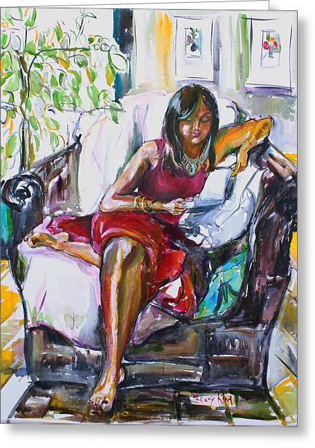 Portrait With Red Chair Greeting Cards - Sunni Reading Greeting Card by Becky Kim