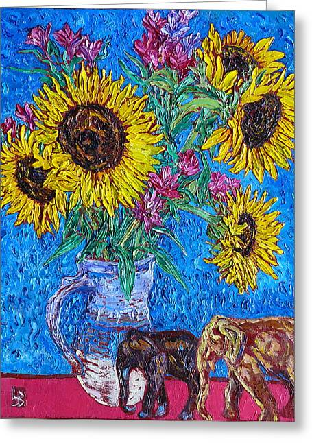 Stoneware Paintings Greeting Cards - Sunnies and Elephants Greeting Card by Linda J Bean