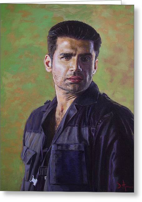 Indian Actor Greeting Cards - Sunnil Shetty portrait Greeting Card by Dominique Amendola
