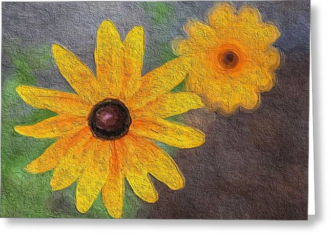 Texture Flower Greeting Cards - Sunny Greeting Card by Aaron Aldrich