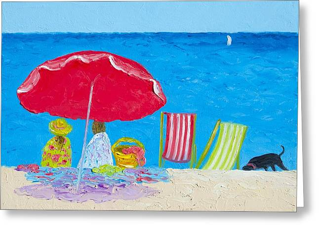 Dog Beach Print Greeting Cards - Sunny afternoon at the beach Greeting Card by Jan Matson