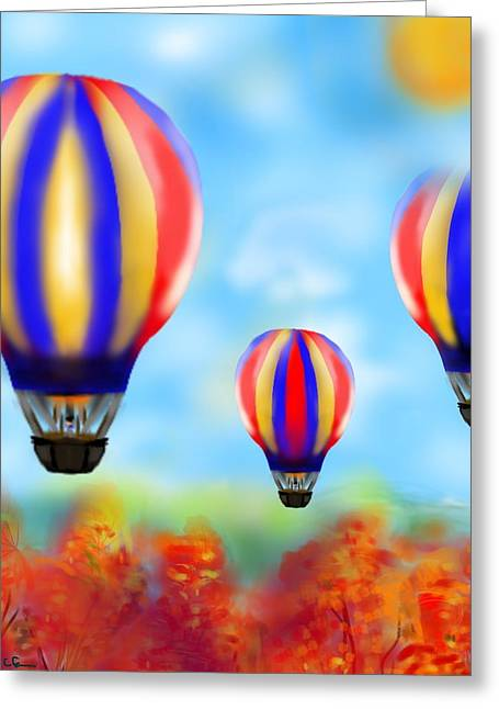 Sunny Balloon Ride Greeting Card by Christine Fournier