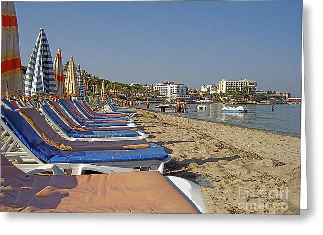 Chaise Greeting Cards - Sunny beach Greeting Card by Claudia Mottram