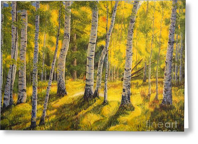 Autumn Art Greeting Cards - Sunny birch Greeting Card by Veikko Suikkanen