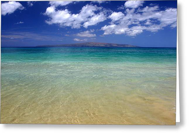 Turquoise Greeting Cards - Sunny Blue Beach Makena Maui Hawaii Greeting Card by Pierre Leclerc Photography