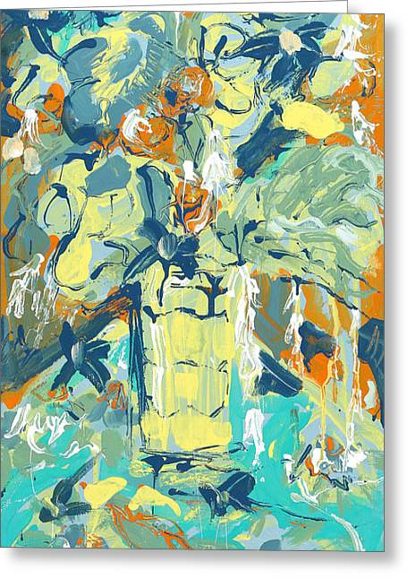 Abstract Vase Flower Print Greeting Cards - Sunny bouquet Greeting Card by Carole Goldman