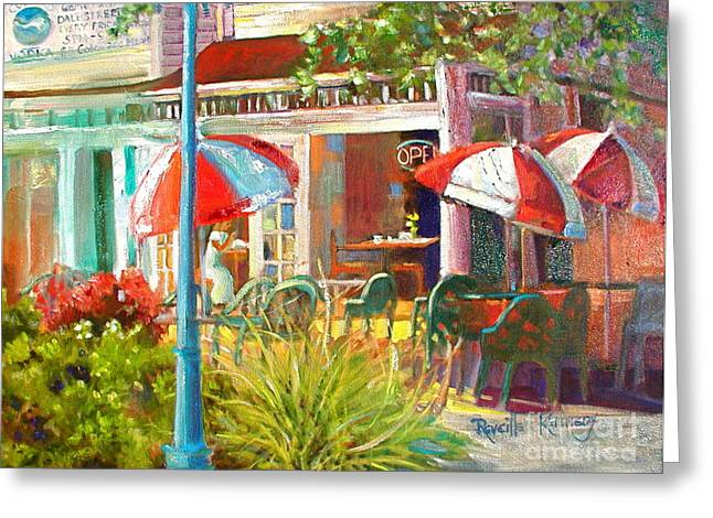 Wine Sipping Paintings Greeting Cards - Sunny Cafe Greeting Card by Reveille Kennedy