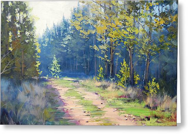 Sunny Corner Pine Forest Greeting Card by Graham Gercken