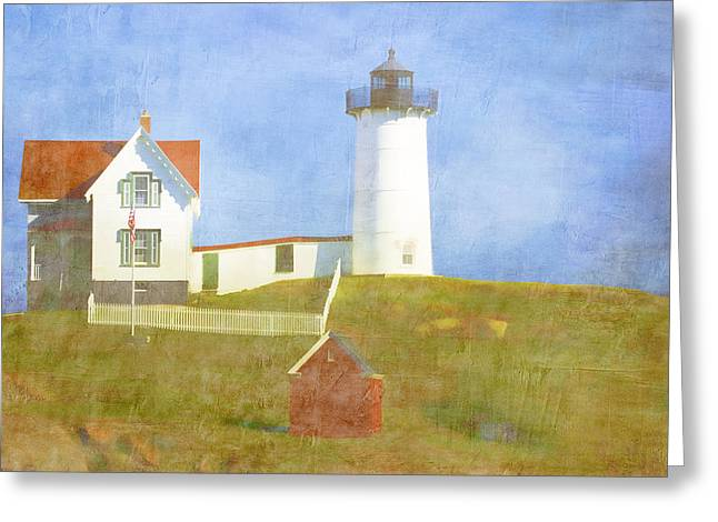 New England Lights Greeting Cards - Sunny Day at Nubble Lighthouse Greeting Card by Carol Leigh