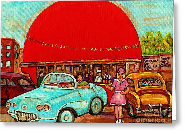 Orange Julep Greeting Cards - Sunny Day At The Big Orange Julep  Montreal Road Side Diner Carole Spandau Greeting Card by Carole Spandau