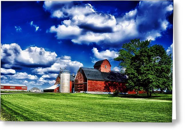 Illinois Barns Photographs Greeting Cards - Sunny Day on an Illinois Farm Greeting Card by Mountain Dreams