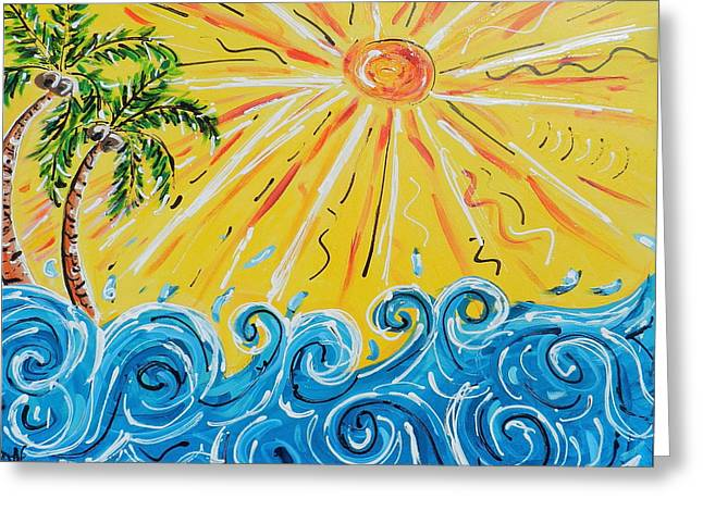Surfer Mixed Media Greeting Cards - Sunny Day Greeting Card by Rebecca  Williams