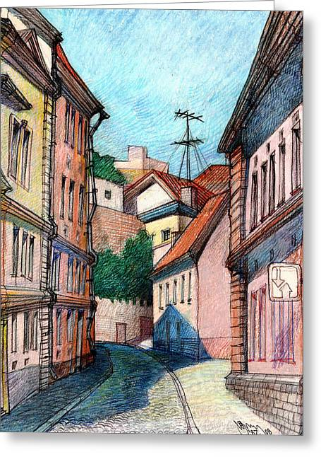 Tallinn Drawings Greeting Cards - Sunny Day Greeting Card by Serge Yudin