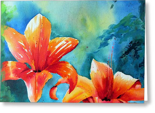 Day Lilly Paintings Greeting Cards - Sunny Days Greeting Card by John Nussbaum