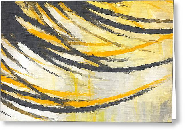 Yellow And Gray Abstract Greeting Cards - Sunny Field Greeting Card by Lourry Legarde