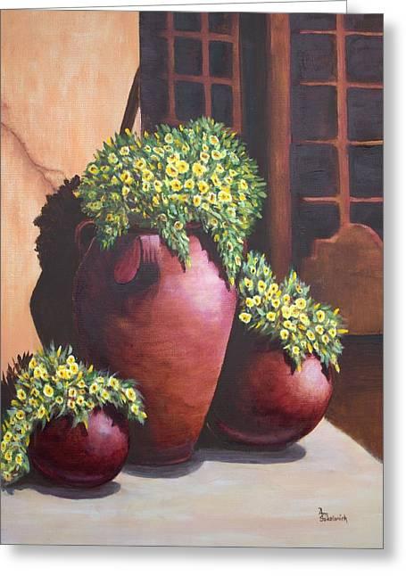 Sokolovich Paintings Greeting Cards - Sunny Flower Pots Greeting Card by Ann Sokolovich