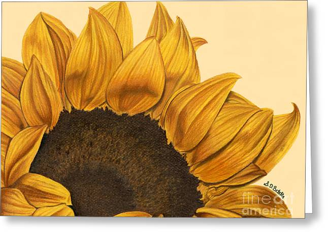 Harvest Drawings Greeting Cards - Sunny Flower Greeting Card by Sarah Batalka