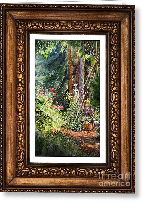 Sunny Garden In Vintage Frame Greeting Card by Irina Sztukowski