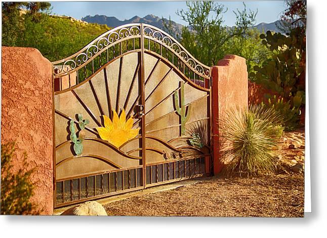 Sunny Gate Greeting Card by Judi FitzPatrick